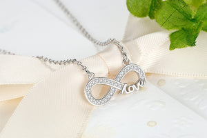 Infinity Sign Love Necklace made out of 925 Sterling Silver.