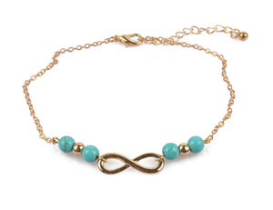 Infinity Ankle Bracelet with Turquoise Beads