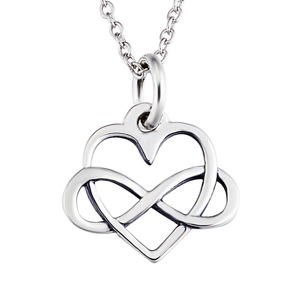 Sterling silver infinity love necklace sterling silver infinity sign and heart pendant necklace casual and formal women aloadofball Image collections