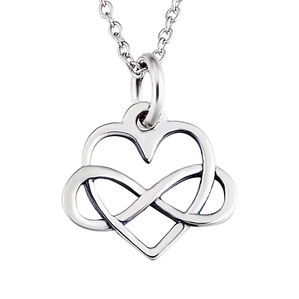 Sterling Silver Infinity Sign and Heart Pendant Necklace Casual and Formal Women
