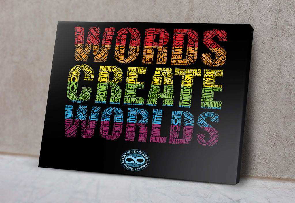 "Words Create Worlds Infinity Word Art 18"" x 24"" Mounted Canvas Print Wall Art Decor"