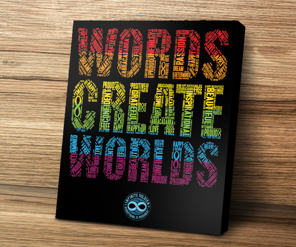 Words Create Worlds Word Art Motivational Mounted Canvas Print