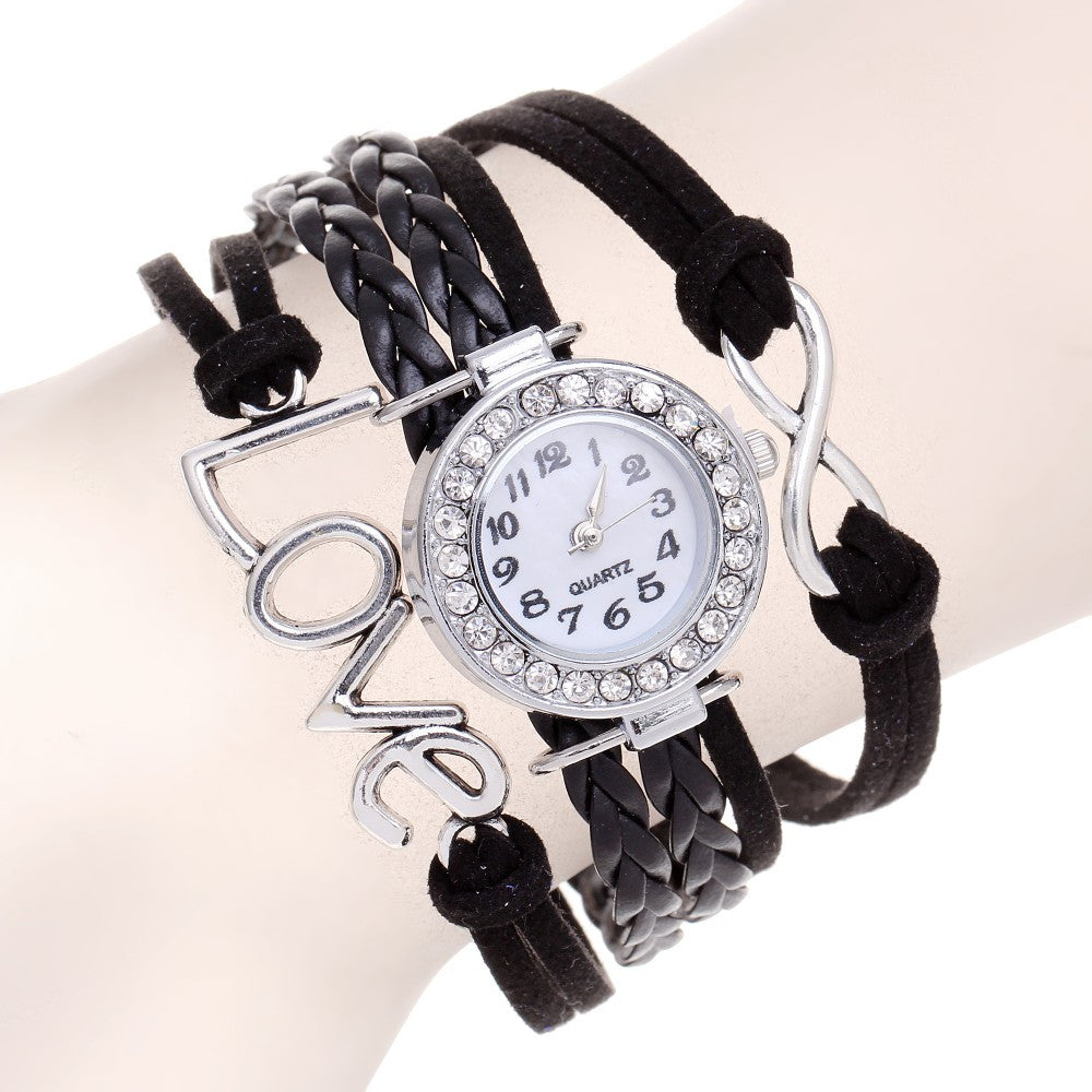 Infinity Sign & Love Black Braided Watch