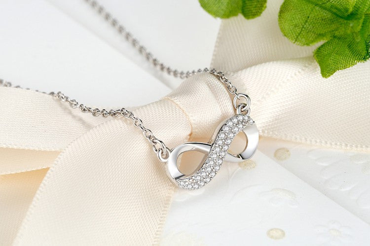 Exquisite Sterling Silver Infinity Sign Crystal Pendant Necklace Casual and Formal Women