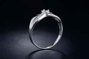 White Gold Plated CZ Infinity Ring
