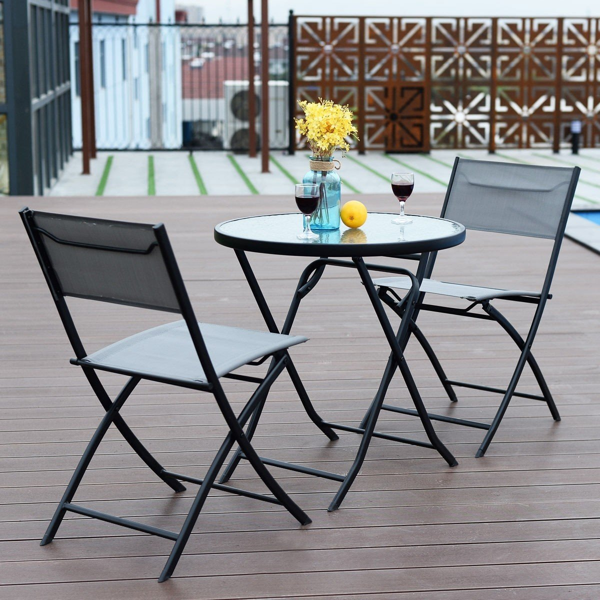 Foldable Table And Chair Set.Gray 3 Piece Patio Folding Table And Chair Set