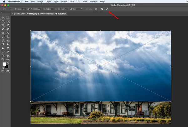 Size the Photoshop sky overlay to the image
