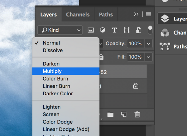 Change the Photoshop layer from normal to multiply