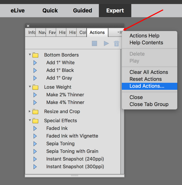 Elements load actions menu