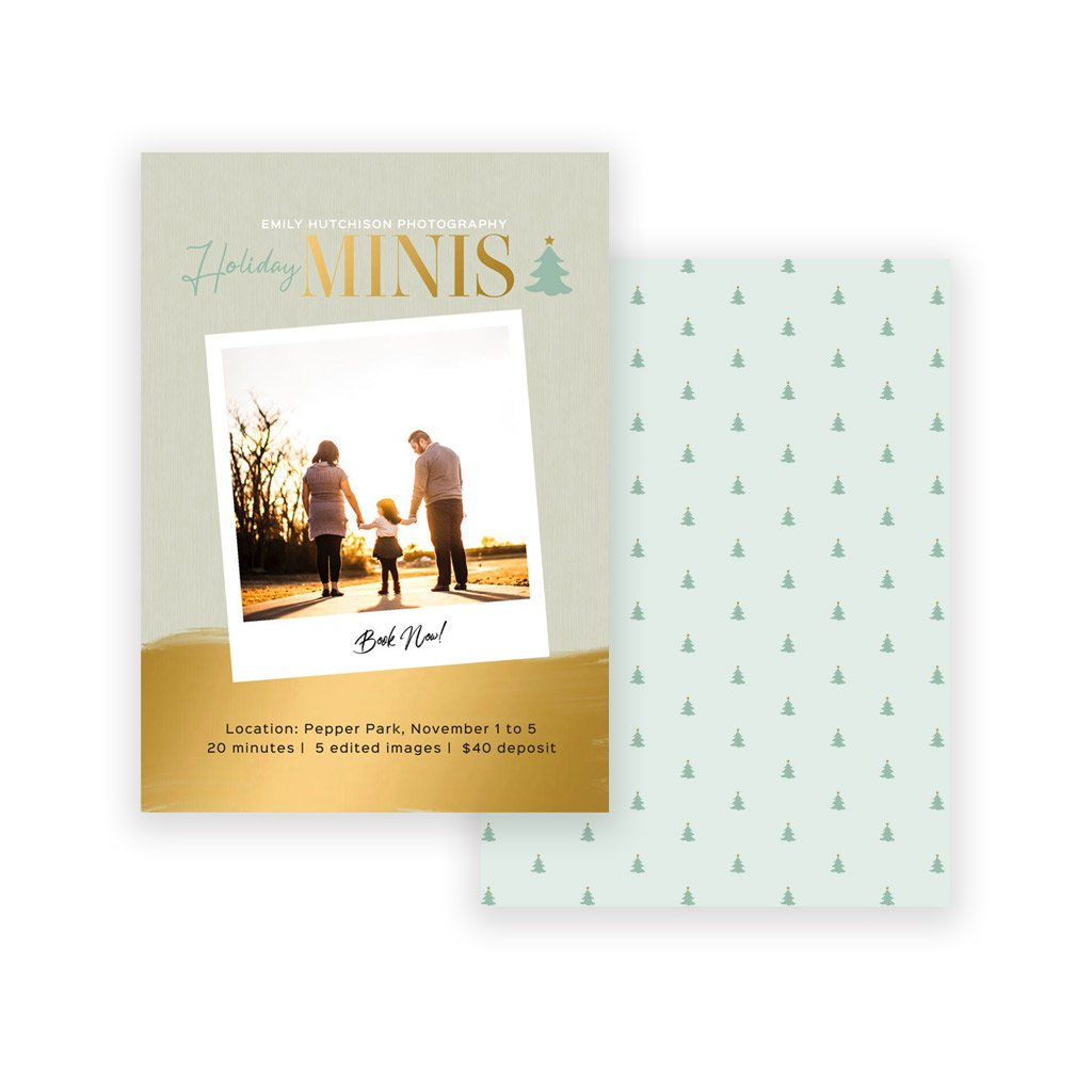 Holiday Mini Session Template - Gold Shine