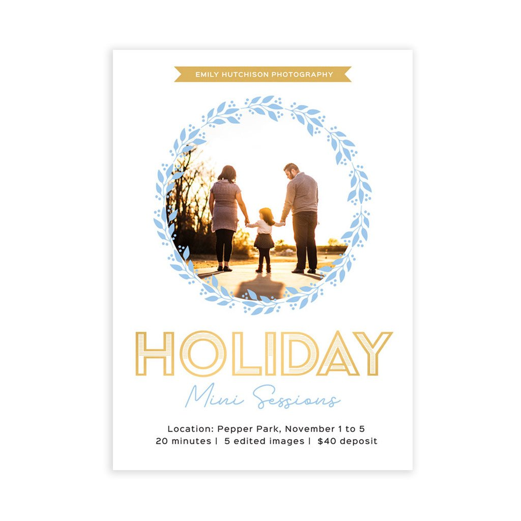 Holiday Mini Session Template - Blue Wreath