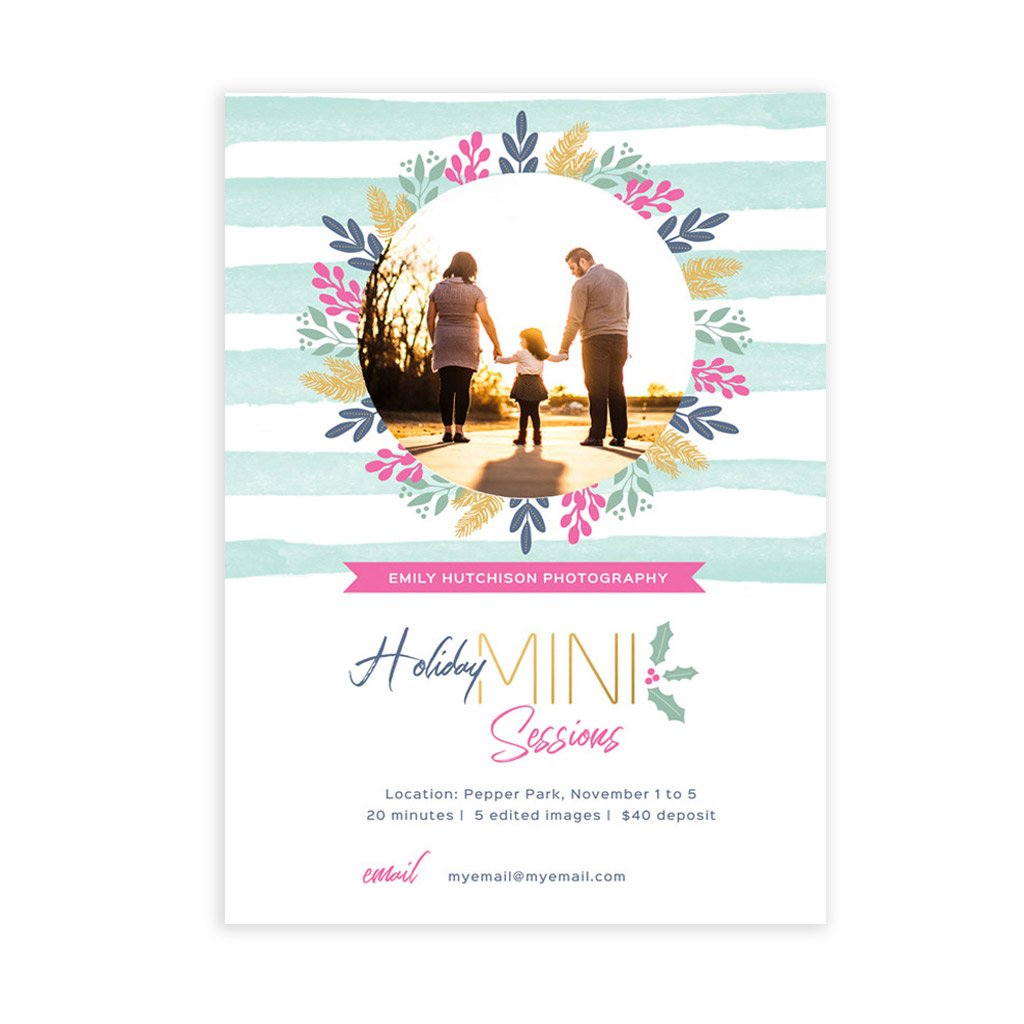 Holiday Mini Session Template - Preppy