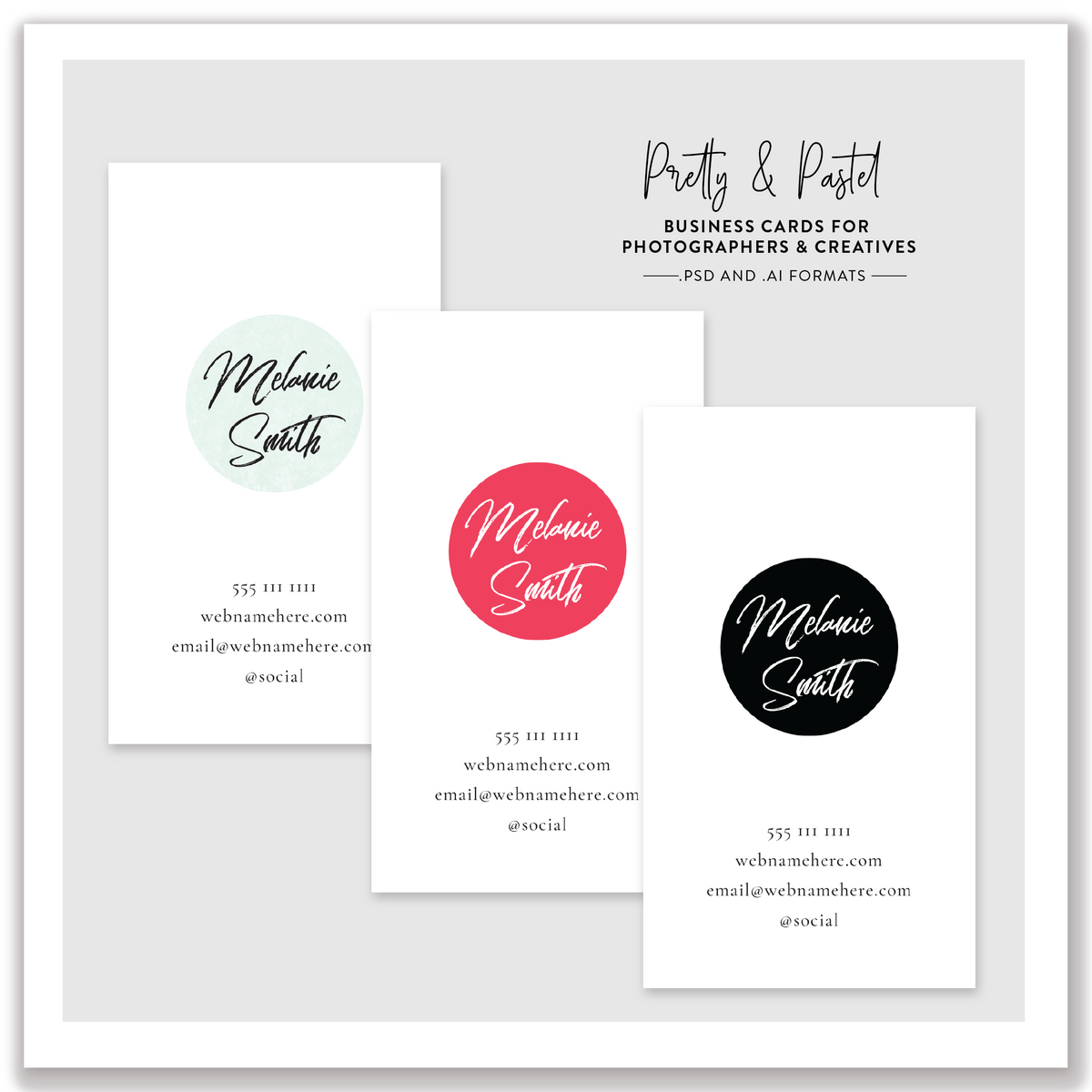 Pretty and Pastel Business Cards for Photographers & Creatives