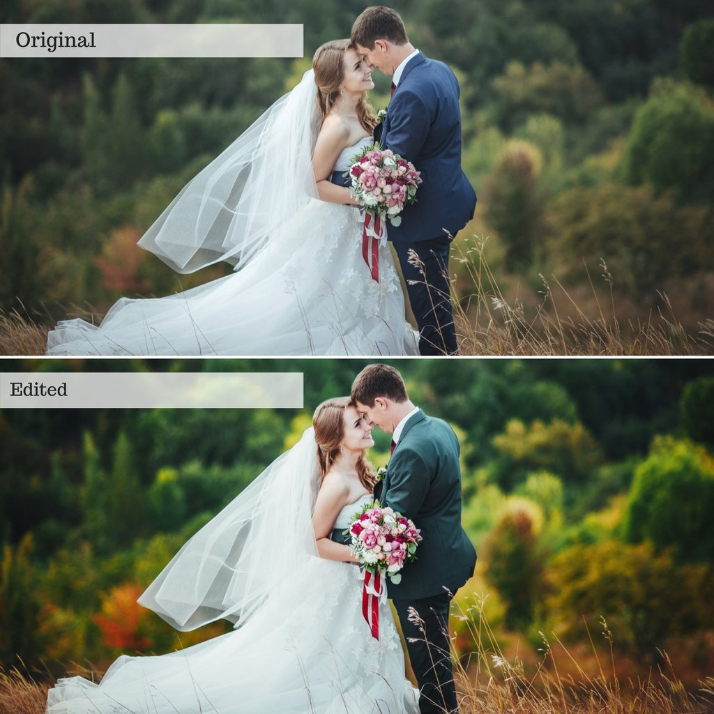 Before and after wedding preset bundle comparison