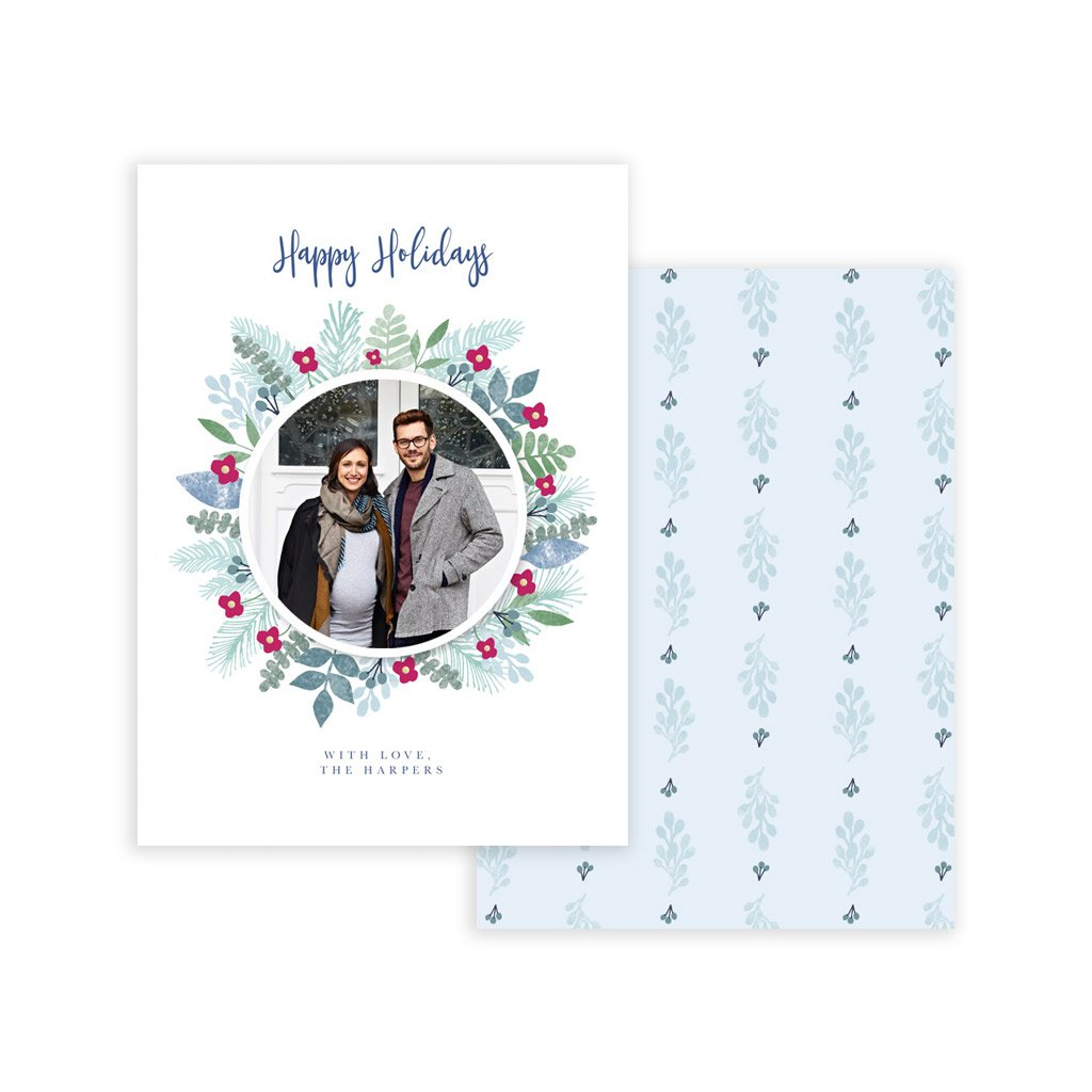 Holiday Card Template - Blue Wreath