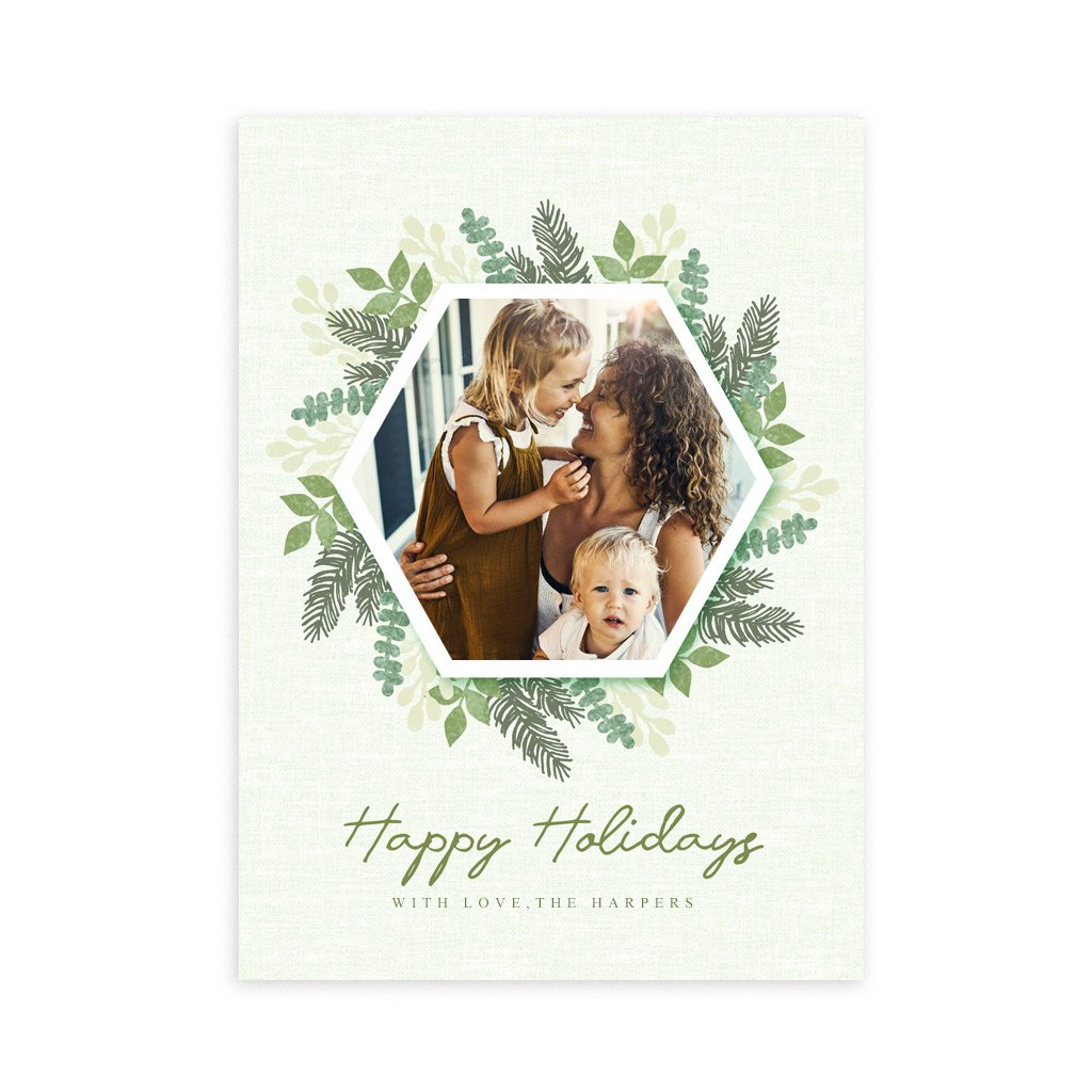 Holiday Card Template - Green Wreath & Stripes
