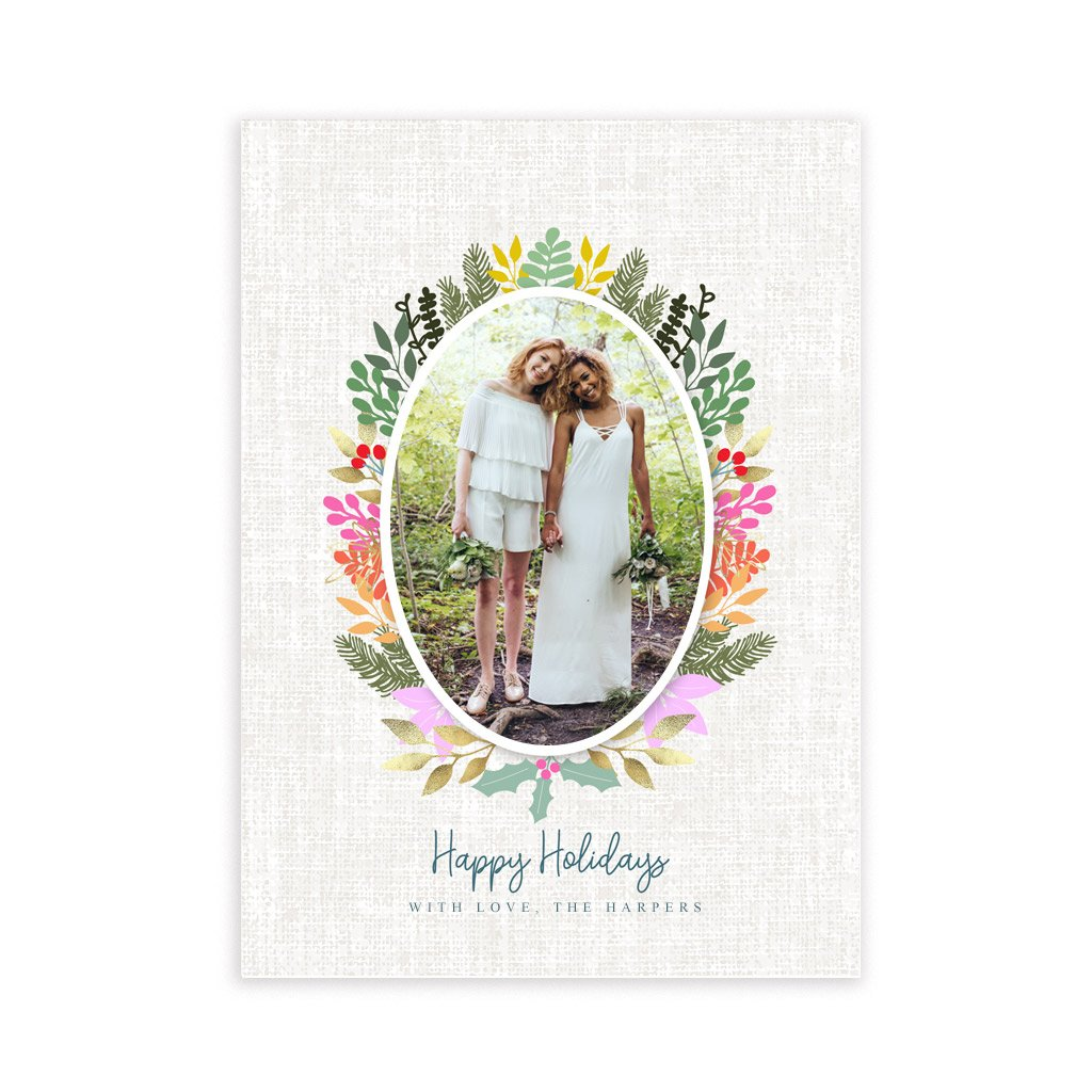 Holiday Card Template - Colorful Wreath