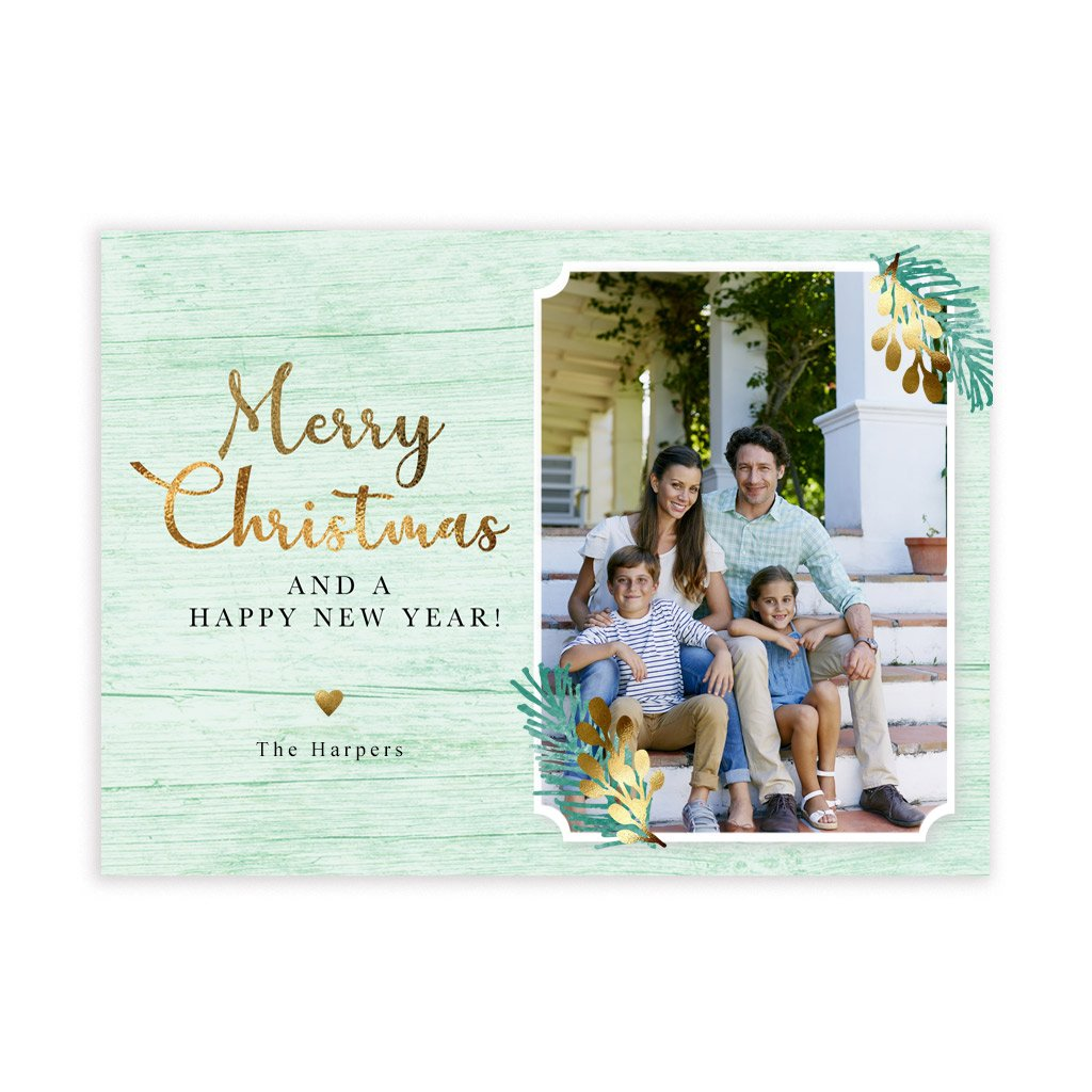 Holiday Card Template - Merry Christmas Green & Gold