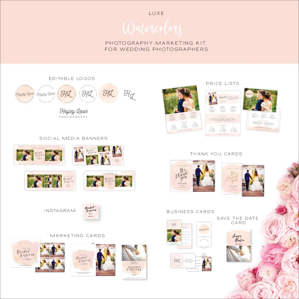 Watercolor Marketing Kit for Wedding Photographers