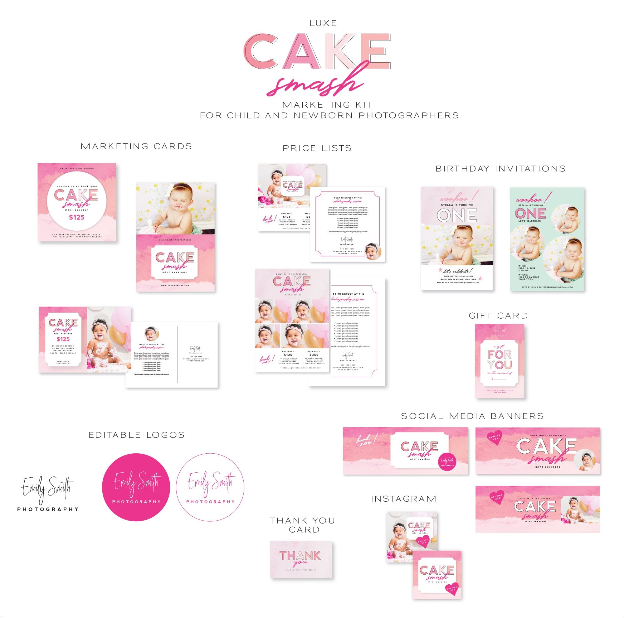 Cake Smash Marketing Kit for Child & Newborn Photographers