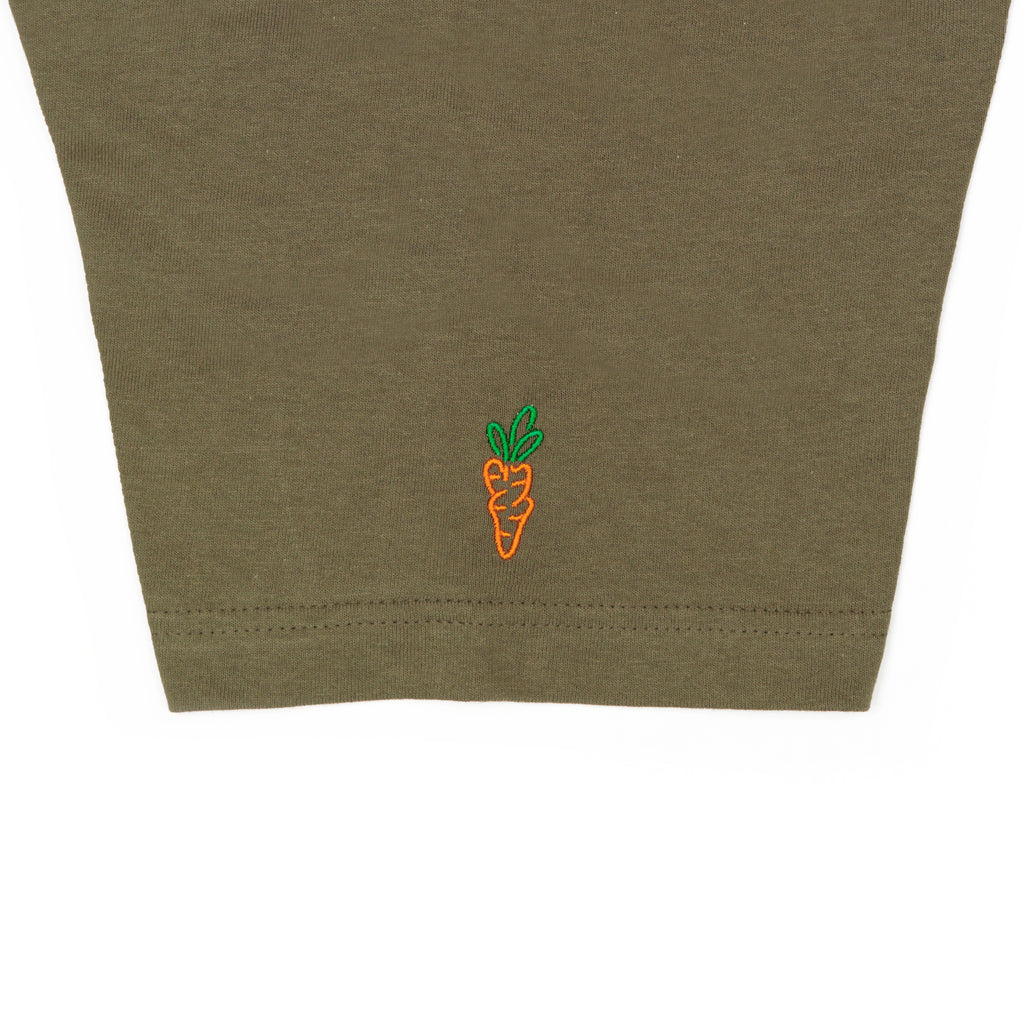 CARROT FADED CIRCLE LOGO T-SHIRT - OLIVE