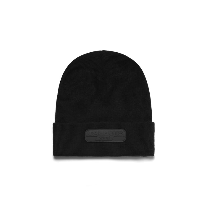 CARROT SPORT RUBBER PATCH BEANIE - BLACK