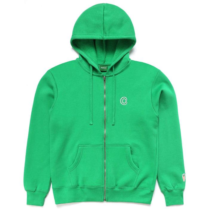 C PATCH ZIP UP HOODIE -  GREEN