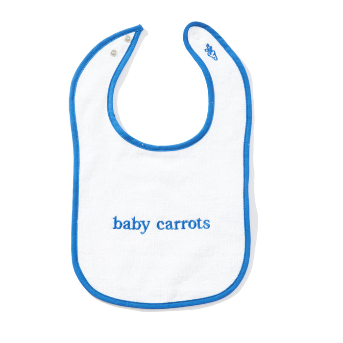 BABY CARROTS WORDMARK BIB - ROYAL BLUE
