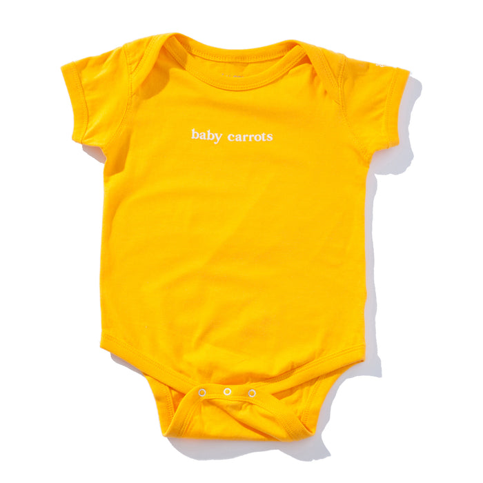 BABY CARROTS WORDMARK ONESIE - YELLOW CARROTS