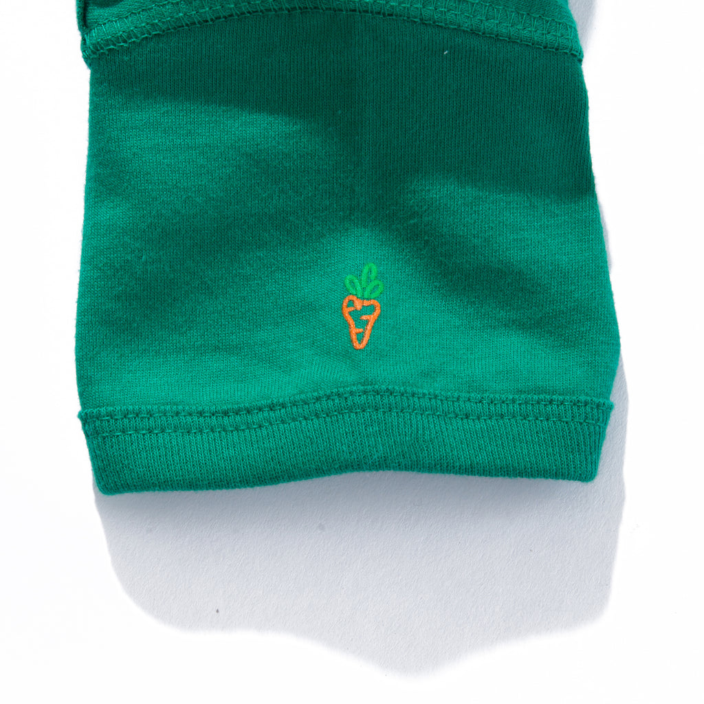 BABY CARROTS WORDMARK ONESIE - KELLY GREEN