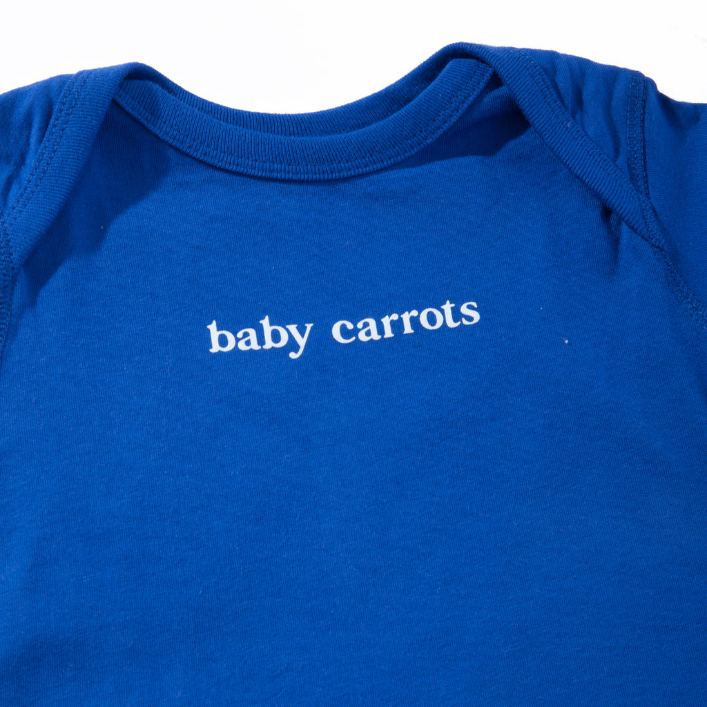 BABY CARROTS WORDMARK ONESIE - ROYAL BLUE