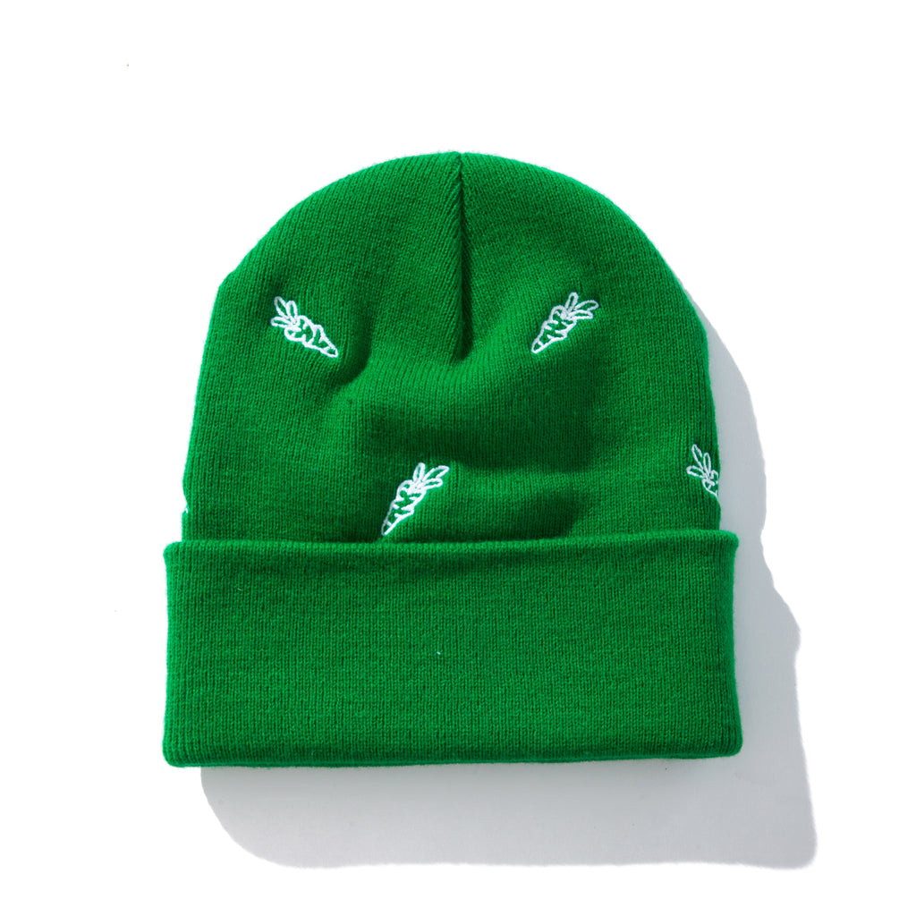 ALL OVER CARROTS BEANIE - KELLY GREEN