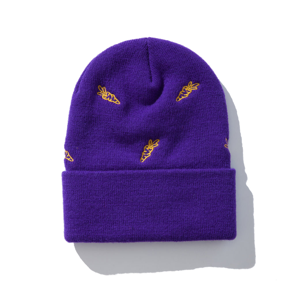 ALL OVER CARROTS BEANIE - PURPLE CARROT