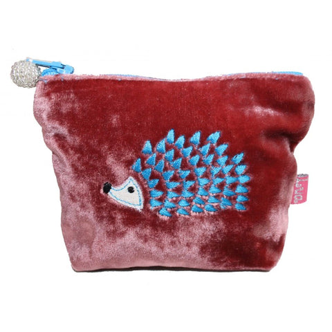 Mini Velvet Purse - Embroidered Hedgehog