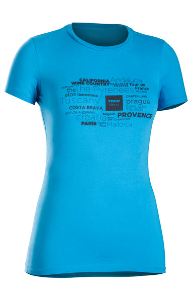 "Women's Trek Travel Blue ""The World Calls"" T-Shirt"