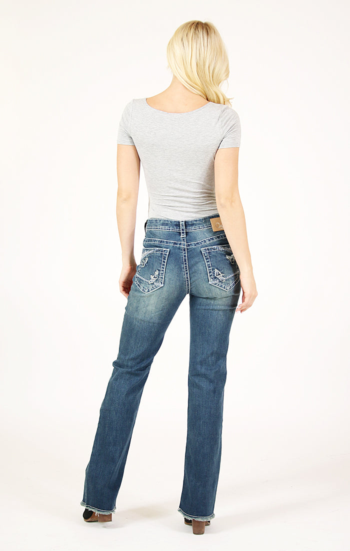 Embellished Patch Work Bootcut Jeans | CEB-3155-32