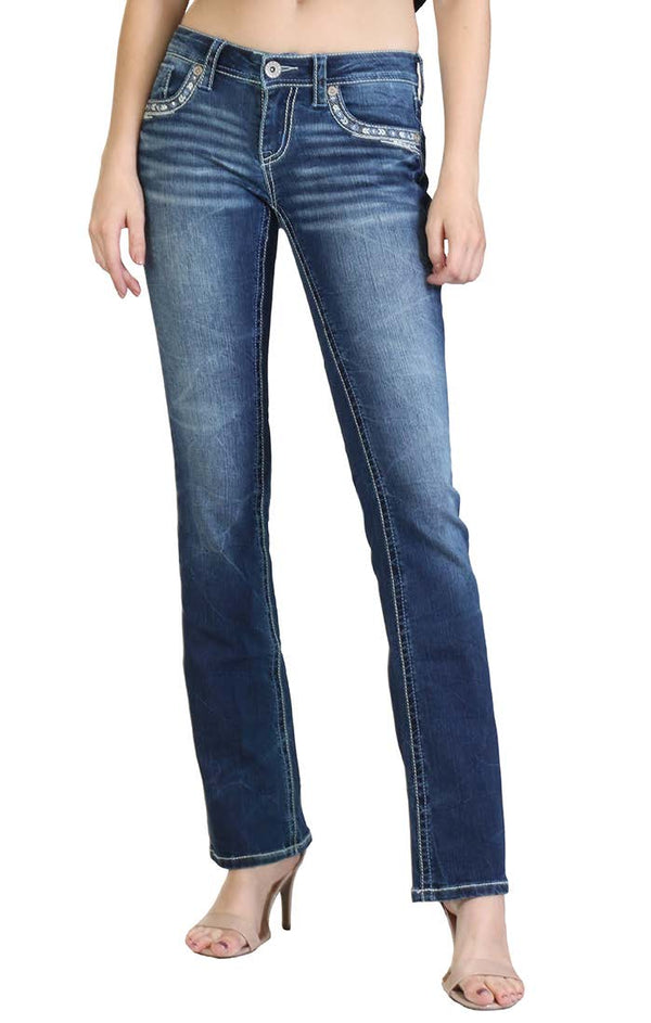 Embellishment Design Easy Fit Bootcut Jeans | CEB-3184-32