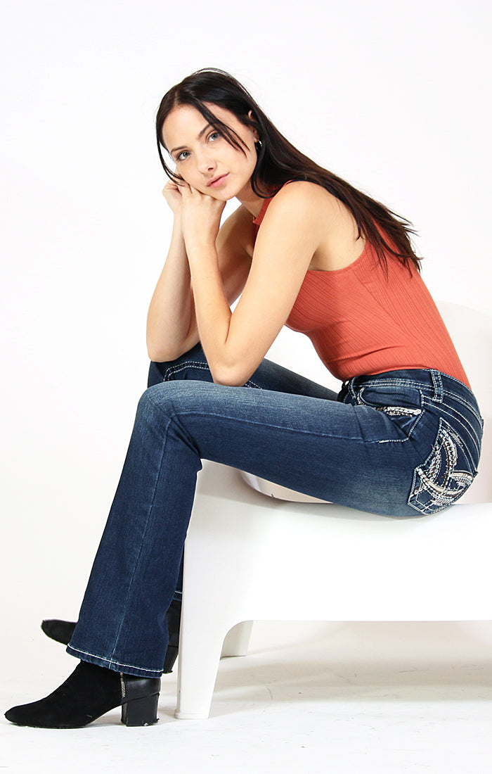 Stitched Embellished Easy Bootcut Jeans | CEB-3310