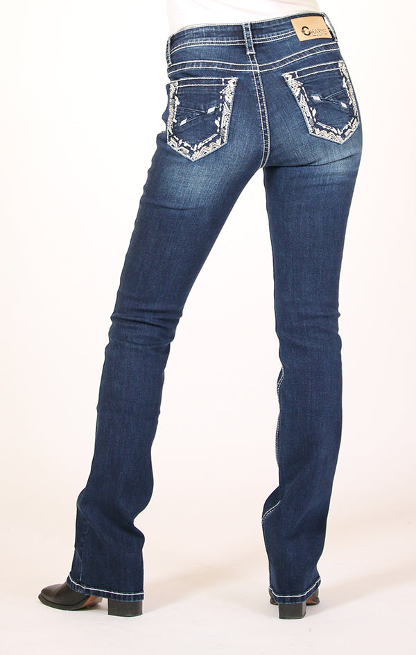 Stitched Embellished Easy Bootcut Jeans | CEB-3386