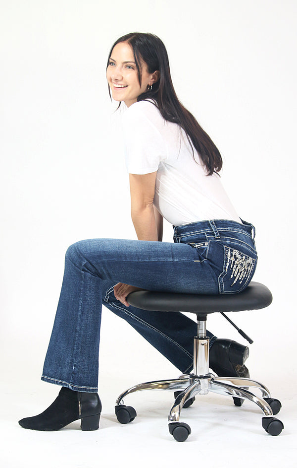 Dripping Aztec Design Embellished Easy Bootcut Jeans | CEB-71173