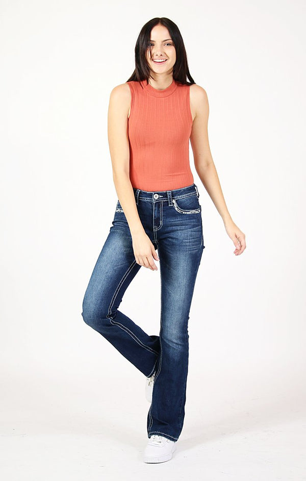 Simple Stitch Embroidered Bootcut Jeans | CEB-71183