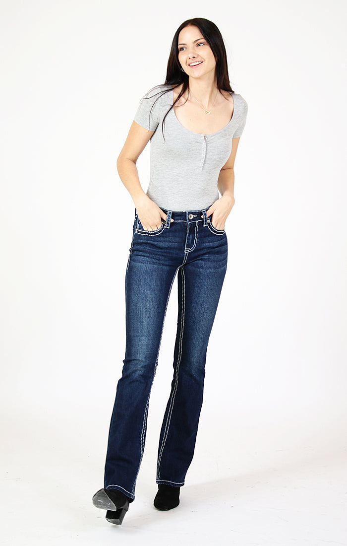 Western Diamond Embellished Easy Bootcut Jeans | CEB-71196