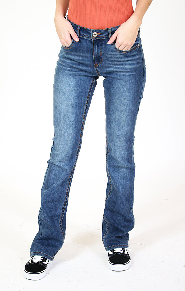 Medium Wash Five Pocket Bootcut Jeans | CEB-9266-32