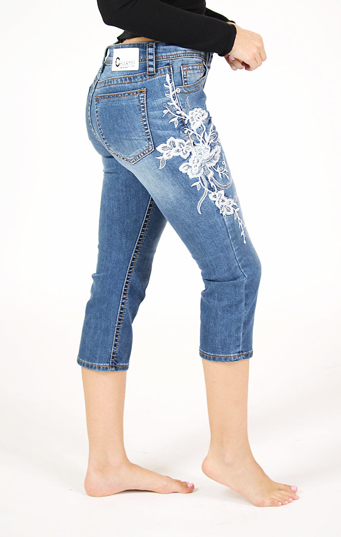 White Floral Embroidered Easy Capri Jeans | CEC-2215