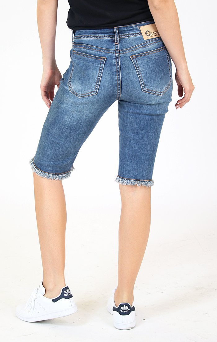 Classic Medium Wash Denim Bermuda Shorts | CEM-9266