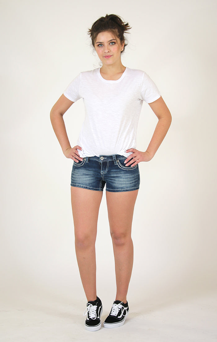 V Stitched Embellished Design Denim Shorts | CJH-3284
