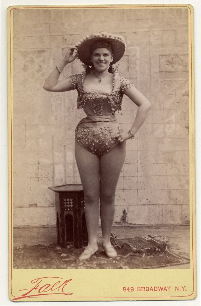 1890. Josie Gregory in short, Mexican style costume