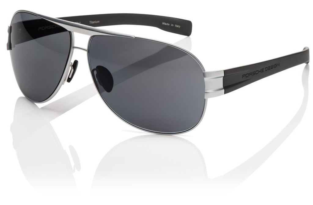 Porsche Design P8544 Sunglasses Matte Titanium/Light Grey Frame Grey Lenses Size 66-11-135