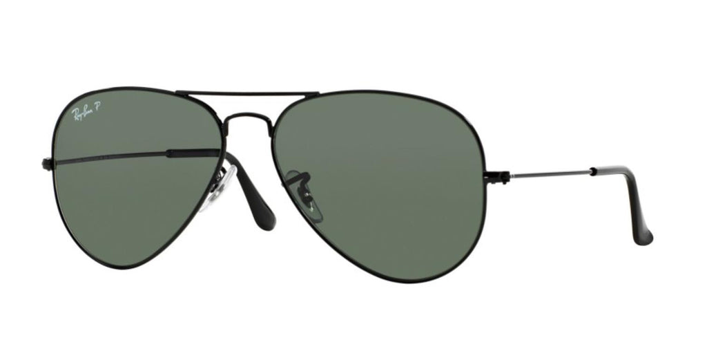 Ray-Ban Aviator Classic RB3025 Sunglasses 002/58 Black Frame Polarized Green Lenses Size 58-19-135