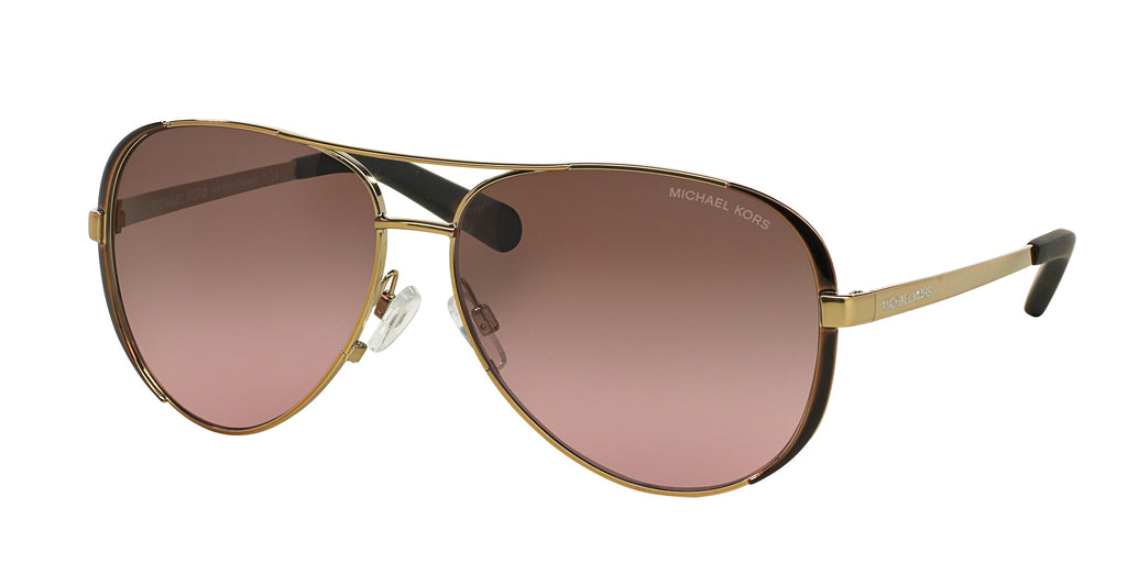 Michael Kors MK5004 Sunglass 101414 Gold Dark Chocolate Brown Frame Brown Lenses Size 59-13-135